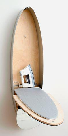 Dual purpose mirror/ironing board that looks super modern!