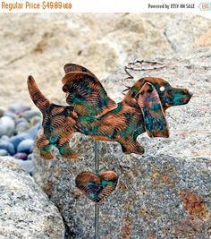 Basset Hound Garden Stake / Metal Dog Angel / Garden Copper Art / Pet Grave Marker / Pet Memorial / Outdoor / Dog Memorial Stake / Patina
