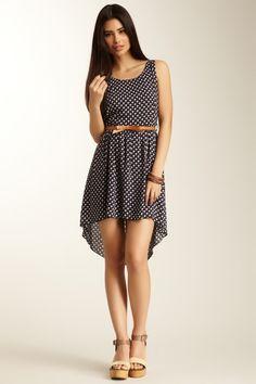 {Printed Hi-Lo Belted Dress} polka dots + a bow belt = super cute