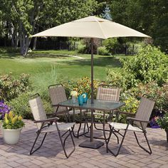 Mainstays Glenmeadow 6 Piece Folding Patio Dining Set With Umbrella, Dune,  Seats 4