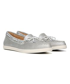 Silver Ginnie Leather Boat Shoe