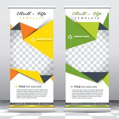 Modelo de banners de negocio de origami  Vector Gratis