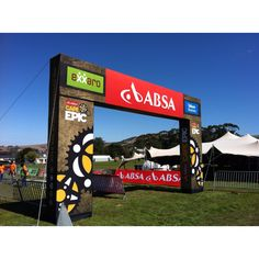 Finish Line Arch branding took another step forward using scale and fabric printed branding on a steel structure.