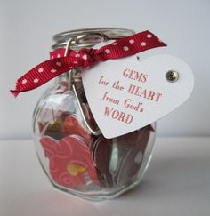 Jar of Encouraging Scripture - Gems for the Heart - Inside you can put inspirational verses from the Bible. Etsy.