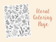 Coloring page for adults and kids, floral design coloring page, instant download