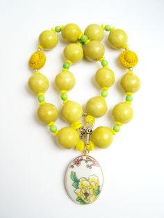 Yellow Rose Necklace, Pottery Shard Jewelry by polishedtwo, $30.00