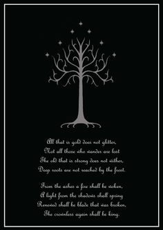 Right shoulder, just the White Tree with the first two lines of Aragorn's verse written in Sindarin circling around the Tree.