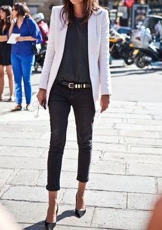 This is how to wear jeans to work!  Looking like youre not tryng is the best way to make a statement