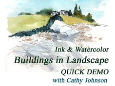 Ink and watercolor--a quick sketch demonstration for my class on working with these two mediums. Now it's public, for the first time, and hope you enjoy it! Watercolor Landscape Tutorial, Landscape Sketch, Watercolor Video, Pen And Watercolor, Watercolour Tutorials, Watercolor Techniques, Watercolor Illustration, Painting Techniques, Watercolor Paintings