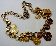 "Goldtone Faux Balboa Coin Necklace Graduated Sizes Long Round Link Chain 30"" #Unbranded #Chain #fashion #style #unique #jewelry"