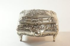 Silver Box Tone Trinket Vintage Metal Jewelry Colonial Scene Japan Red Ornate Vtg Toned W Design Lid Hinged Velvet by DoorCountyVintage on Etsy
