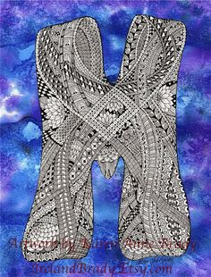 ACEO Open Edition art print, The Letter M ... I began my quest to complete a zentangle alphabet series on 9/18/2010 and finished this project on