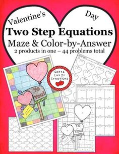 Valentine's Day Two Step Equations Bundle.  This product includes 2 products in one. Answer keys included, no prep, just print!