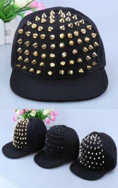 8fead045612 Black and gold Rivets Spike Spiky Studded Baseball Cap Unisex Hat