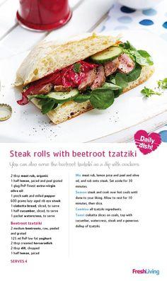 Steak rolls with beetroot tzatziki