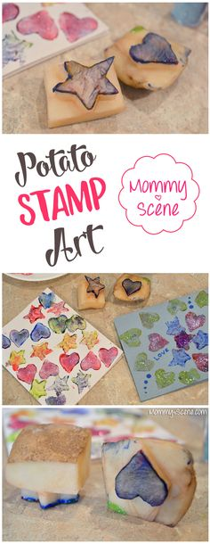 Potato stamp shapes are a fun way to make Valentines or holiday cards with your kids! All you need is a potato, knife, paint, and...