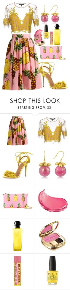 """""""Pattern Play ○ Lace & Pineapple Print ○ Yellow & Pink"""" by lifestylepretty ❤ liked on Polyvore featuring Dolce&Gabbana, For Love & Lemons, Aquazzura, Naoto, Hermès and OPI"""