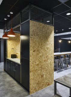 98 inspiring office kitchen designs for your office decor Industrial Office Space, Cool Office Space, Industrial Cafe, Office Space Design, Workplace Design, Office Interior Design, Office Interiors, Office Designs, Industrial Design