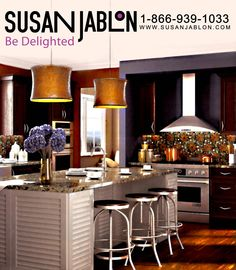 This kitchen was designed by Paula Kennedy and uses our ever fabulous Black Eyed Susan back splash from our Whimsical Gardens category.     Now you can have the same Backsplash in your Kitchen for only $26.99 visit this link to see it http://www.susanjablon.com/black-eyed-susans.html