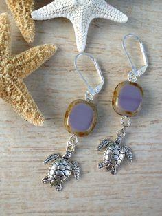 Sea Turtle Earrings with Purple Czech Glass by BeachDaisyJewelry, $10.00