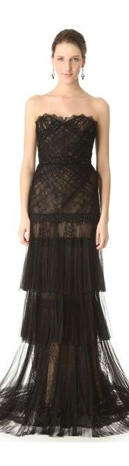 Marchesa Pleated Mesh Lace Gown | BuyerSelect.com