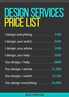 It's important to start a business relationship on the right note. We've created a price list for design services that you can share with current and prospective clients. You can change the figures depending on your experience, skills and patience level. You're welcome. You Might Also Like10 Funny Signs Every Designer Needs To Hang Outside […]