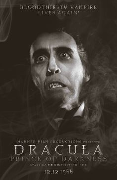 Count Dracula, Prince of Darkness,Christopher Lee. Classic Monster Movies, Classic Horror Movies, Classic Monsters, Cult Movies, Iconic Movies, Scary Movies, Christoper Lee, Hammer Horror Films, Hammer Films