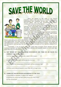 Save the World - ESL worksheet by paula_esl Reading Comprehension Worksheets, Reading Passages, Teaching English Grammar, English Vocabulary, 4th Grade Sight Words, English Conversation Learning, Writing Activities, English Activities, English Reading