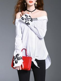 Shop Blouses - Off Shoulder Casual Cotton Asymmetrical Long Sleeve Blouse online. Discover unique designers fashion at StyleWe.com.