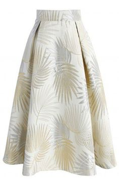 Golden Palm Jacquard Midi Skirt - CHICWISH SKIRT COLLECTION - Skirt - Bottoms - Retro, Indie and Unique Fashion
