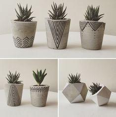Idea Of Making Plant Pots At Home // Flower Pots From Cement Marbles // Home Decoration Ideas – Top Soop Diy Concrete Planters, Concrete Crafts, Concrete Projects, Diy Planters, Painted Plant Pots, Painted Flower Pots, Flower Pot Design, Flower Diy, Cement Art