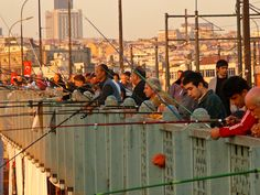 Fishing From The Galata Bridge, Istanbul, Turkey. Love this bridge!