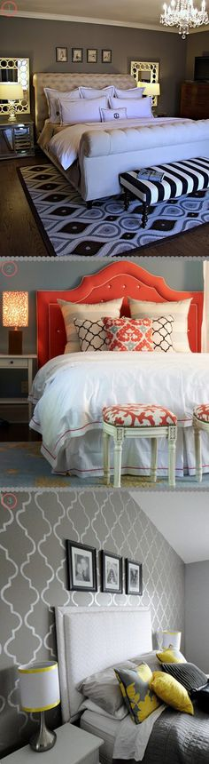since i am in the mode of redesigning my master bedroom i thought i would share these 3 lovely spaces with you ~ enjoy found here… one, two, three