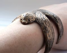 Sloth Bracelet Sloth Jewelry Sloth Cuff Sloth by jtopolski Brass Jewelry, Jewelry Accessories, Jewellery, Sloth Sleeping, Sloth Shirt, Metal Clay, Animal Jewelry, Pet Gifts, Gift For Lover
