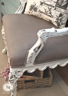 Chalk Painted Fabric - Queen Anne Chair