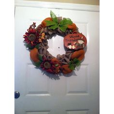 Halloween Wreath -Thanksgiving Wreath ($75) ❤ liked on Polyvore featuring home, home decor, holiday decorations, halloween welcome sign, thanksgiving wreaths, autumn wreath, flower home decor and pumpkin wreath
