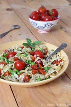 Salade de pâtes au chorizo, petits pois et basilic