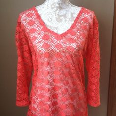 Portocruz swimsuit coverup Coral color 100% polyester long sleeve swimsuit coverup! Size large. Excellent condition portocruz Swim Coverups