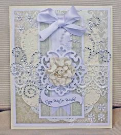 'Cozy Winter Wishes' / blue & white with lace, gems and a crumpled flower