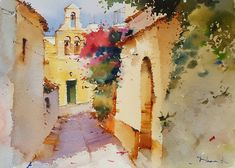 Beautiful Watercolor Paintings by Blanca Alvarez from Malaga, Spain. Watercolor Architecture, Watercolor Landscape, Abstract Watercolor, Landscape Paintings, Watercolour Paintings, Watercolor Pictures, Watercolor Sketch, Watercolor Illustration, Alex Colville