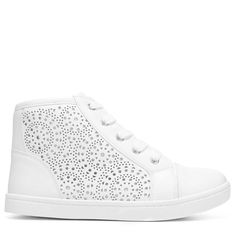 Report Kids' Starr High Top Sneaker Pre/Grade School Shoes (White) - 1.0 M