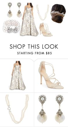 """Untitled #510"" by michelle-konner ❤ liked on Polyvore featuring Mac Duggal, Schutz, Miguel Ases and Brides & Hairpins"