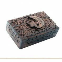 Caja para Tarot de Madera Tallada Luna y Estrella