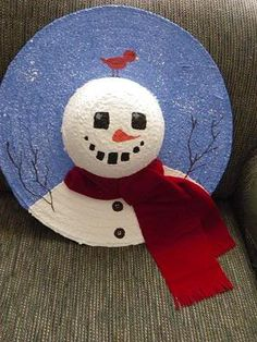 Painted Snowman Straw Hat | NO DIRECTIONS