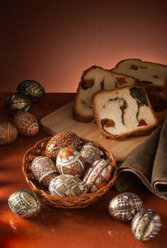 Cozonac is a traditional Romanian Easter bread. Eggs are also eaten for Easter, but not the very elaborately decorated ones, which are emptied out before being decorated.
