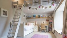 Super-cute kid's bedroom at Eadic House, a luxury self-catering family holiday home in Devon #children #kids #bedroomdesign #pink #fun #playtime #sleep