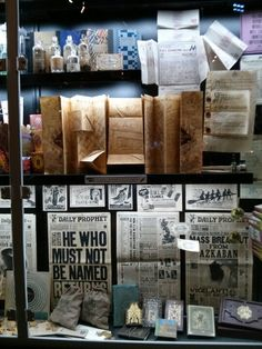 Harry potter window library display ideas, Daily Prophet, Marauder's Map