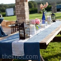 Why do people want to put so much stuff on the table? It looks cluttered not inviting.    wedding outdoor wood picnic tables - Google Search