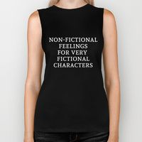 Biker Tank featuring Non-Fictional Feelings for Very Fictional Characters - Inverted by bookwormboutique