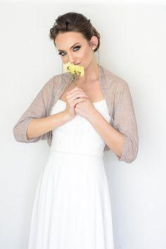 Beige lace bolero.Leightweight shrug for eveningwear.  $52 http://www.etsy.com/shop/Sheeebz